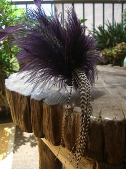 Eggplant Purple Feather headband fascinator