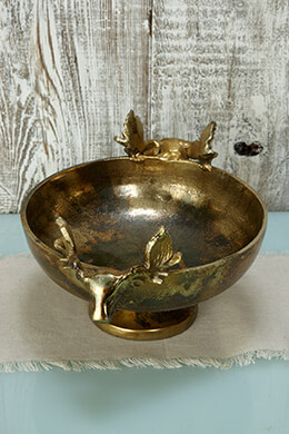 Elk Metal Bowl Antique Gold 9in