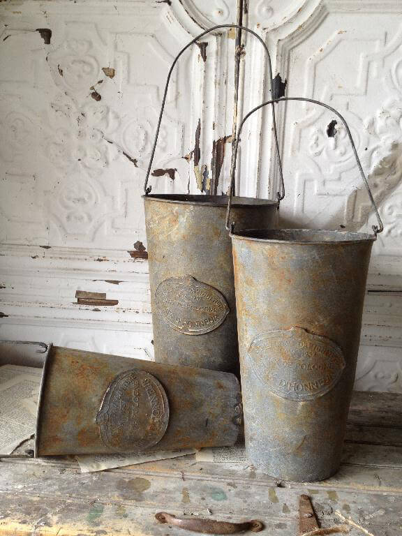 Embossed Metal Hanging French Flower Market Buckets (Set of 3 buckets)