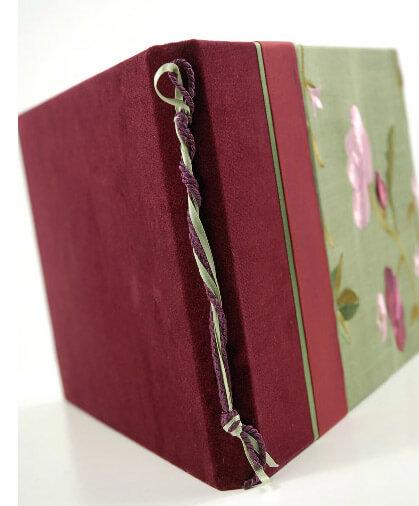 Embroidered Jade Silk & Garnet Taffeta Garnet Bud Guest Book