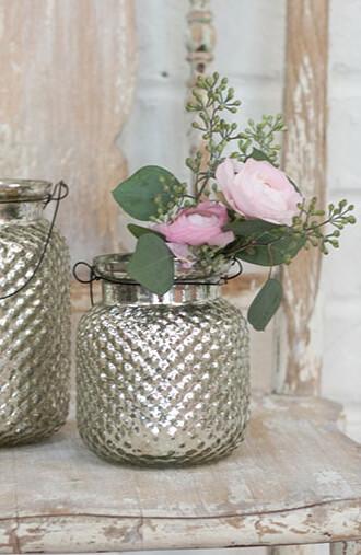 Envie Hanger Mercury Glass Candle Holder Vase 4x5