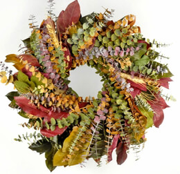 Handmade Preserved Multi Color Eucalptus Wreath