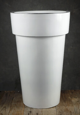 "Extra Tall Pots 23.5"" White Fiberglass Flower Pots"