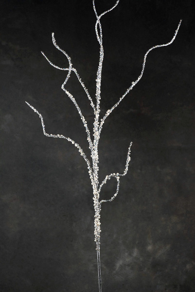 Beaded Pearl & Silver Ilex Branch 78in 6.5ft