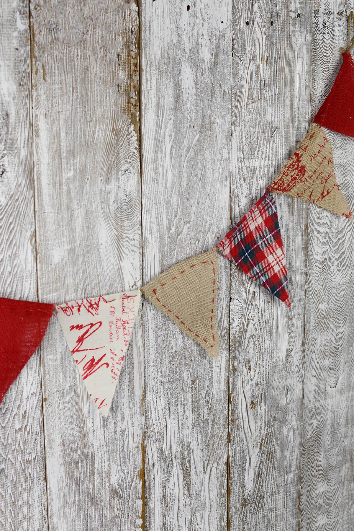 Prim Red Plaid Burlap & Linen Flag Banner 6ft