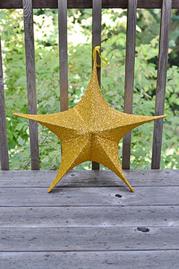 "Fabric Star Lantern,Large, 25"", Wire Frame, Sparkle Gold"