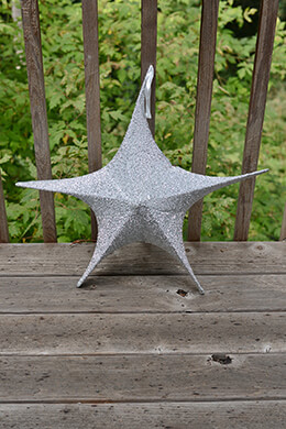 "Fabric Star Lantern,25"", Wire Frame, Sparkle Silver"