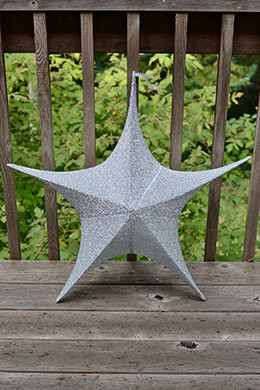 "Fabric Star Lantern,Large, 32"", Wire Frame, Sparkle Silver"