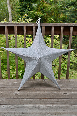 "Fabric Star Lantern 46"", Wire Frame, Sparkle Silver"