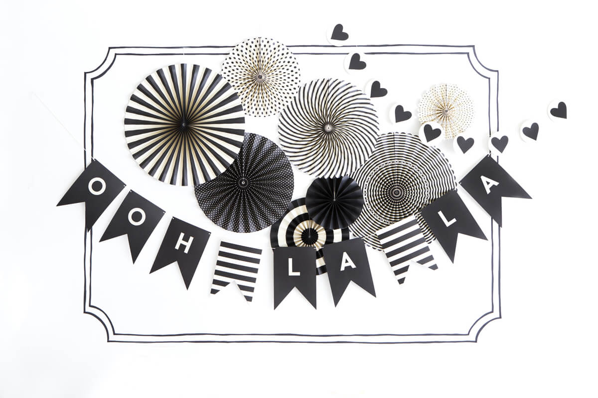 Black & White Party Decorations, MME Party Fans Collection, Photo Backdrops, Party Rosette Pinwheels