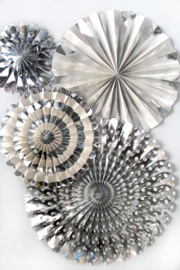 Silver Foil & Cream Party Decorations, MME, Photo Backdrops, Party Rosette Pinwheels, 4 pieces