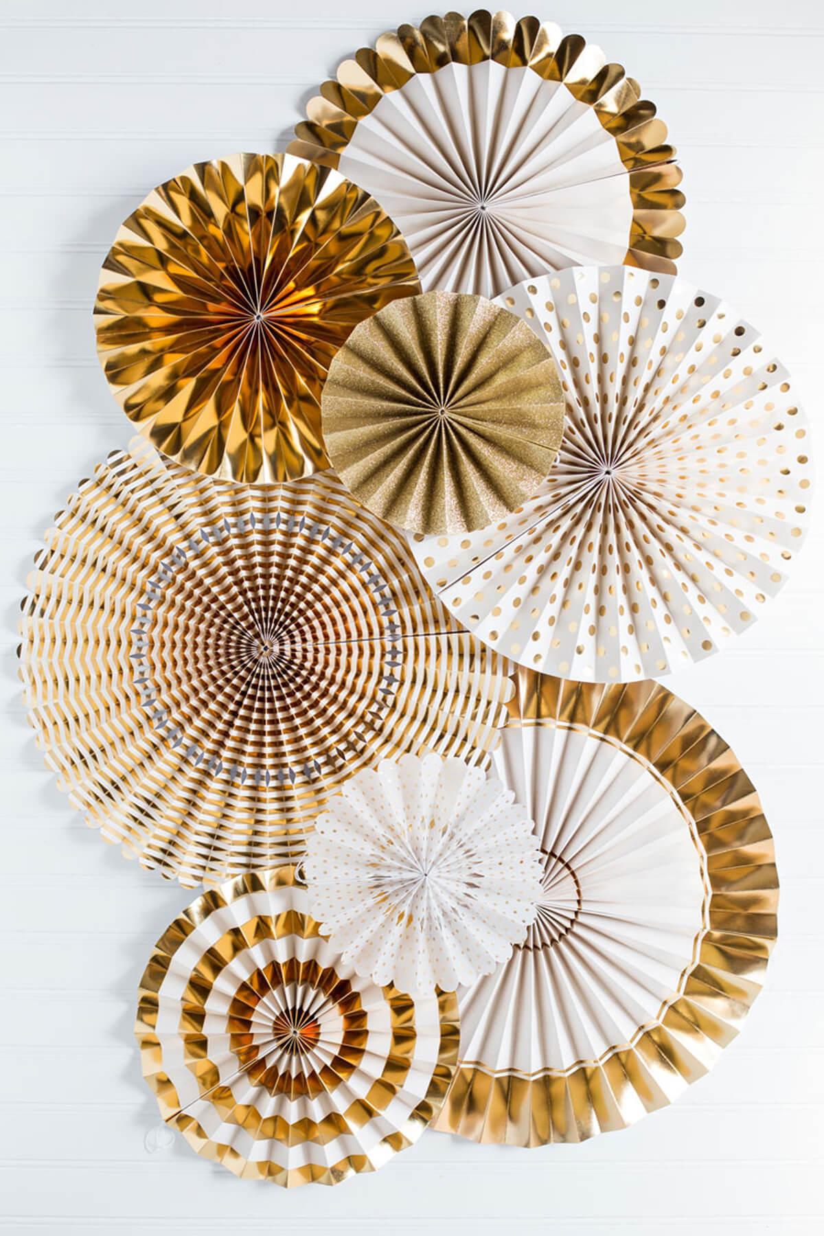 Fancy Party Fans Rosette Pinwheels Gold Amp White Wedding