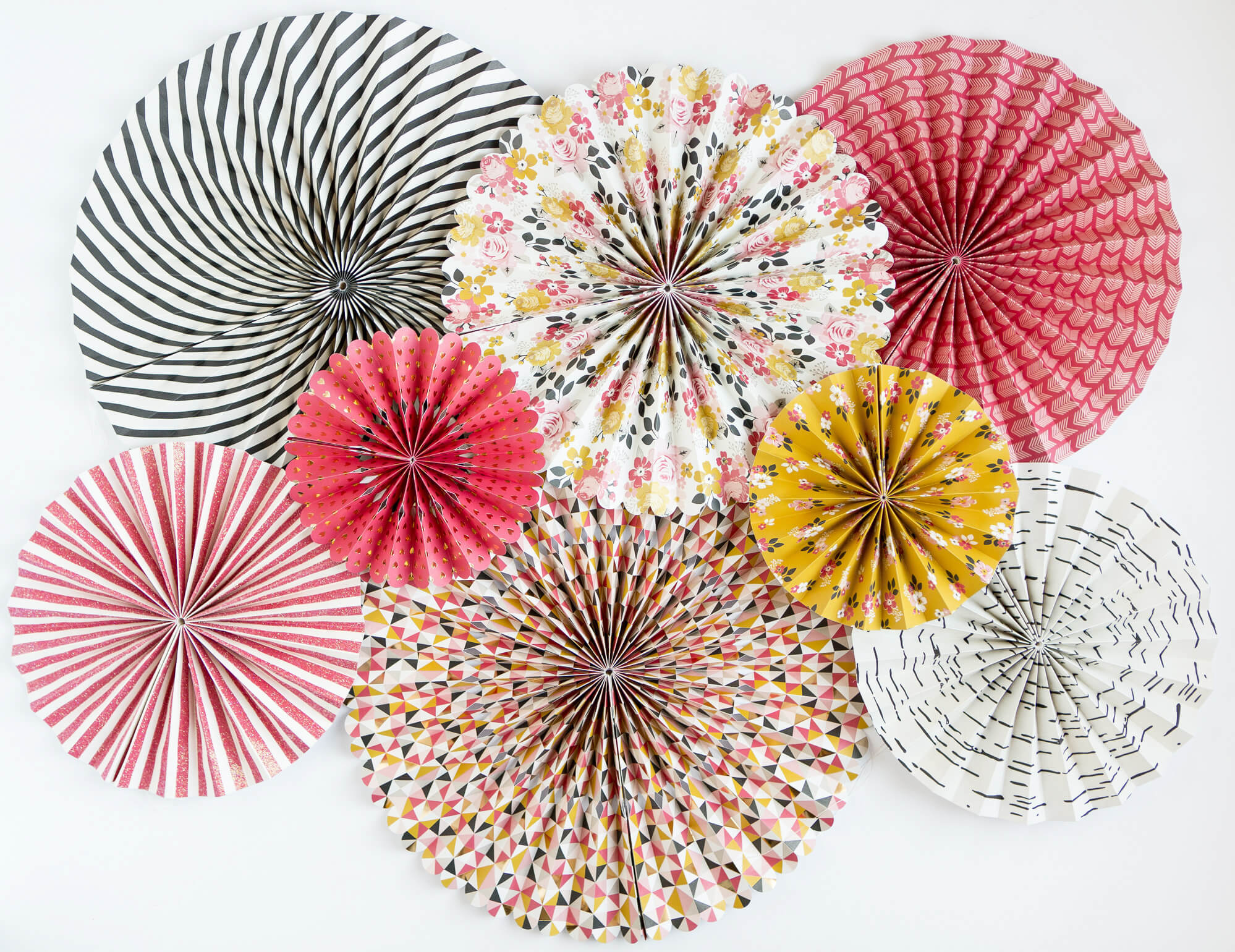 My Story Party Fans Rosette Pinwheels MME, 8 Fans