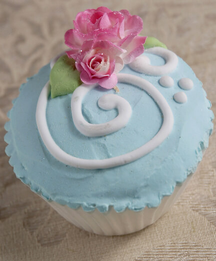 Fancy Faux Cupcakes Baby Blue Rose Swirl