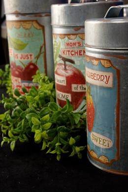 Set of Three Farmhouse Retro Tins  with Lids