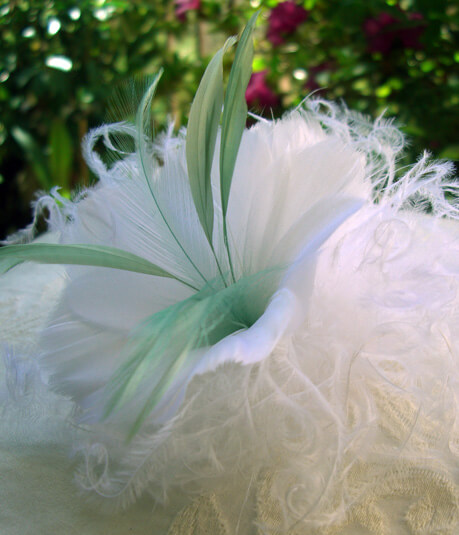 Feather Flowers White with Sage Green