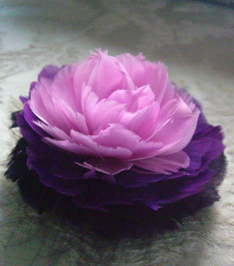 Feather Rose Fascinator Lavender & Purple 4in