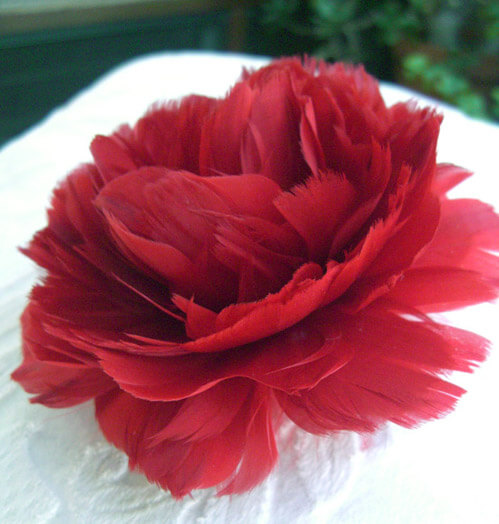 "Fascinator Flowers: 4"" Red Feather Flower Rose"