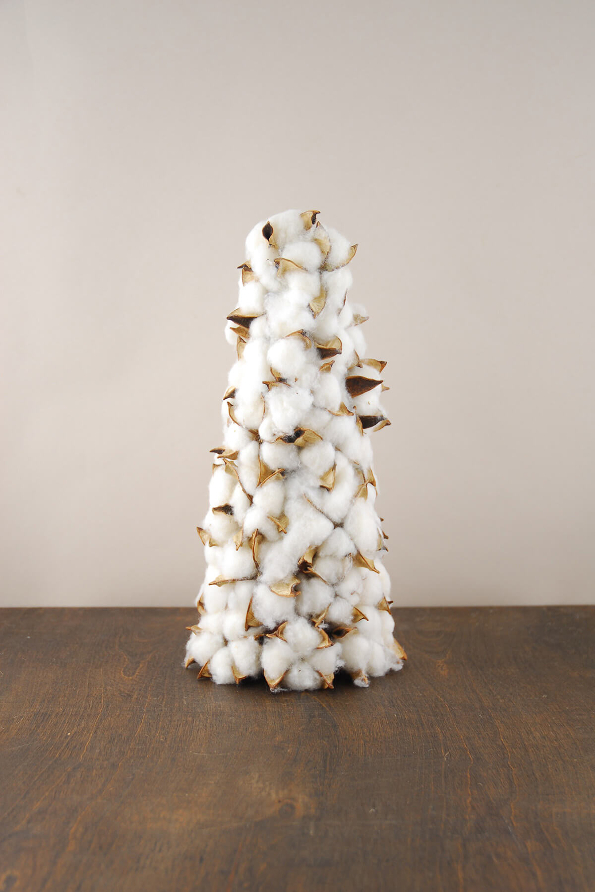Cotton Boll Christmas Tree Cone 12 Inch