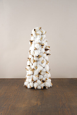 Cotton Boll Christmas Tree Cone 12 Inch