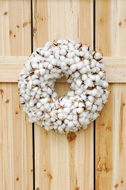 Faux Cotton Wreath 14in