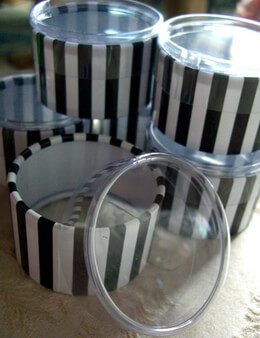"Striped Favor Boxes Black and White St. Tropez Tiny 2"" (6 boxes/pkg)"