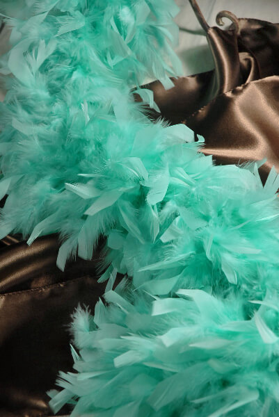 "Feather Boas Mint Green 76"" Chandelle & Coque Feathers 9"" wide"
