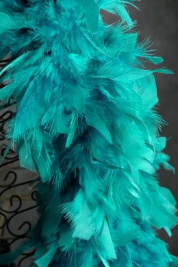 "Feather Boas Peacock Teal Blue Chandelle 80 gram (7"" width )"