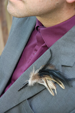 Feather Boutonniere Goose and Hackle (Pack of 6)