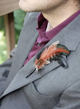 Feather Boutonniere Goose and Pheasant (Pack of 6)