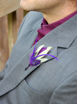 Feather Boutonniere Goose and Purple Guinea (Pack of 6)