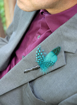 Feather Boutonniere Goose Green Turquoise (Pack of 6)