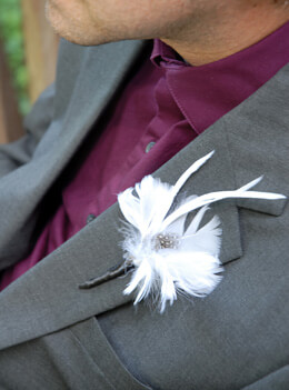 Feather Boutonniere White Goose and Guinea (Pack of 6)