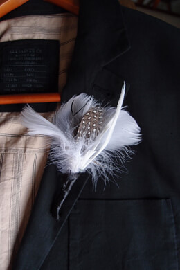 6 Feather Boutonnieres White Goose and Guinea Feathers