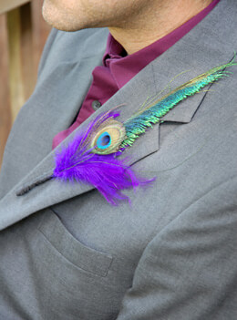 Feather Boutonniere Peacock and Purple (Pack of 6)