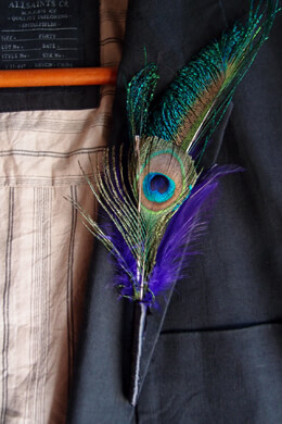 6 Feather Boutonniere Peacock Feathers