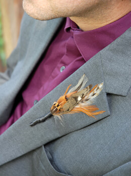 Feather Boutonniere Pheasant Natural (Pack of 6)