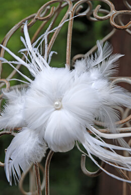 Couture Feathered Flower White