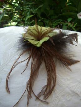"Feather Flowers 8"" Feather Flower Fascinator with Two Tone Brown & Green Feathers"