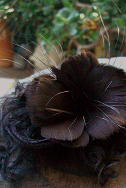 "Handmade 7"" Curly Ostrich  Dark Brown Millinery Flower"