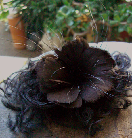 Feather Flowers dark brown with black ostrich