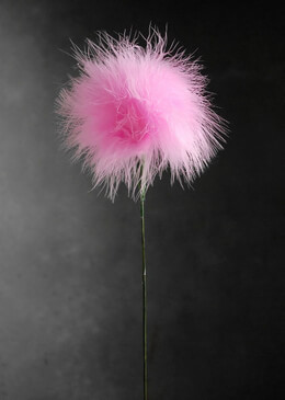 Feather Flowers on Wire Stem Fluffy Pink