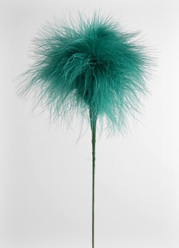 "Teal Green Marabou Feather Flower 20"" Wire Stem"
