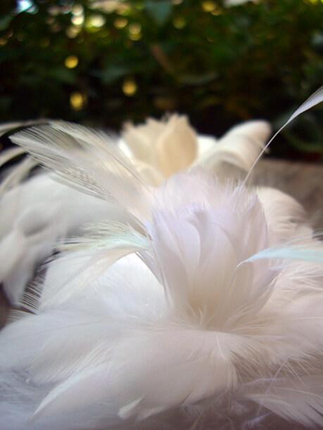 Feather Flower White Marabou