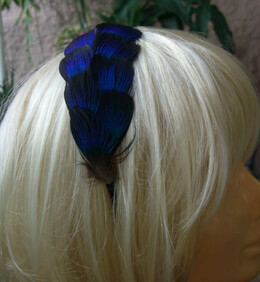 Feather Headband Peacock Feathers on Black Satin Headband