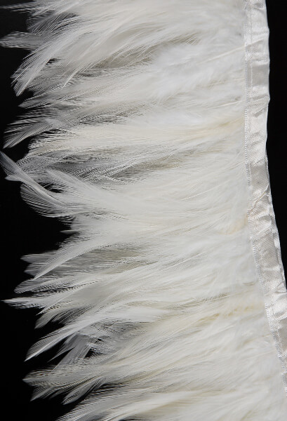 "Stitched White Feather Hackle Trim  5"" Width x 72"""