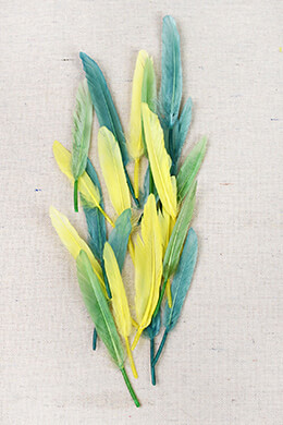"72 Yellow, Green & Aqua Blue 3""- 4"" Turkey Quill Feathers"