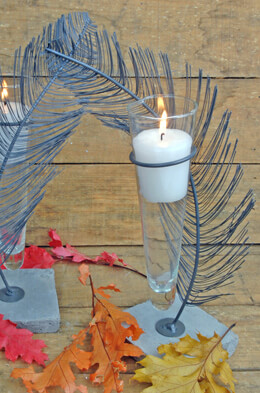 Feather Candle Holder 11.5in (Set of 2)