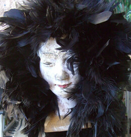 Feather Wigs Black Satin Lining