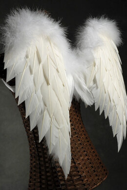 Handcrafted 27x20 White Angel Wings  with Ostrich Trim